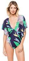 Trina Turk Women's Midnight Paradise Flutter Sleeve One Piece Swimsuit