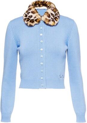 Miu Miu Leopard-Print Collar Cashmere Cardigan