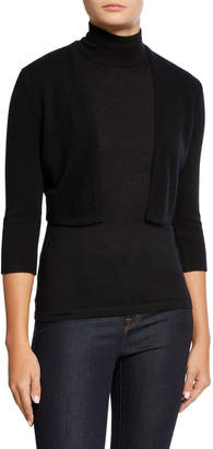 Neiman Marcus Modern Basic 3/4-Sleeve Cashmere Shrug