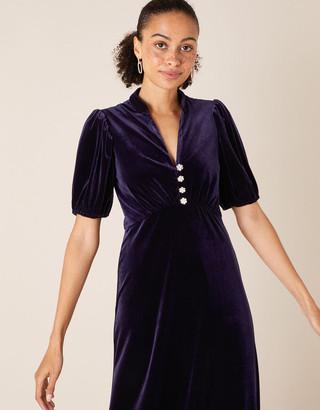 Under Armour Veronique Crystal Button Velvet Shirt Dress Purple
