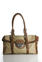 Prada Tan Nylon Silver Tone Brown Leather Trim Flap Satchel Shoulder Handbag