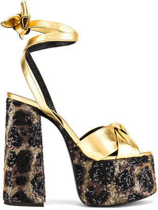 Saint Laurent Leopard Platform Sandal in Natural | FWRD