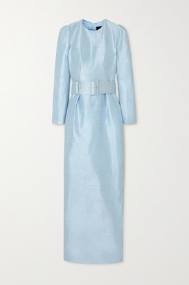 Rasario Belted Silk-dupioni Gown - Sky blue