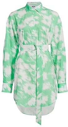 MSGM Tie-Dye Cotton Shirtdress