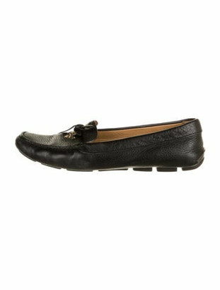 Prada Leather Bow Accents Loafers Black