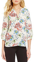 Gibson & Latimer V-Neck 3/4 Sleeve Multi-Colored Floral Print Blouse