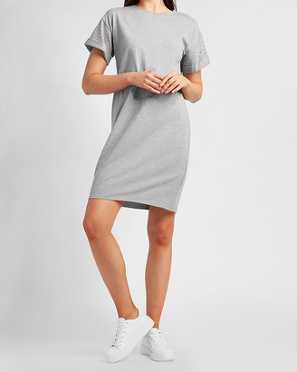 Express Rhinestone Embellished Rolled Sleeve T-Shirt Dress