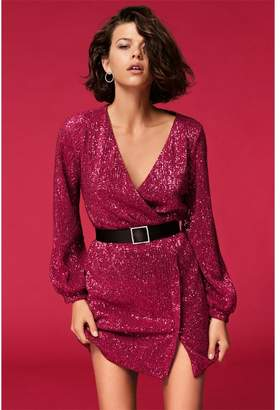 Dynamite The Ruby Sequin Wrap Dress Boudoir Red Pink