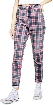 Topshop Five-Pocket Checkered Mom Jeans