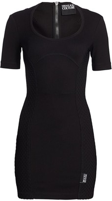 Versace Side Netted-Panel Bodycon Dress