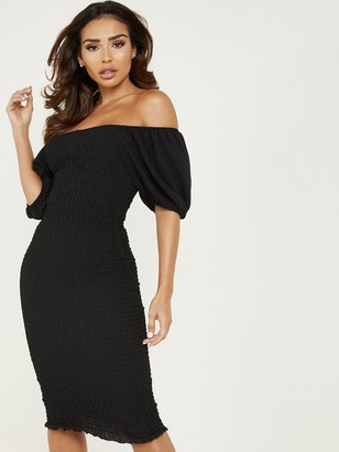 Quiz Black Ruched Shearing Puff Sleeve Midi Dress