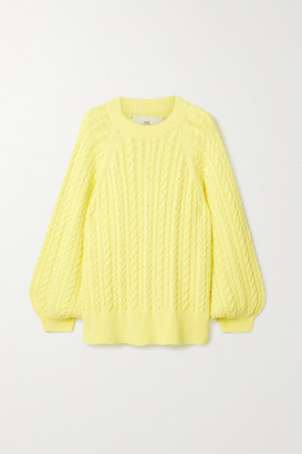I Love Mr Mittens Cable-knit Cotton Sweater - Yellow