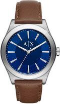 Armani Exchange A|X Men's Dark Brown Leather Strap Watch 44mm AX2324