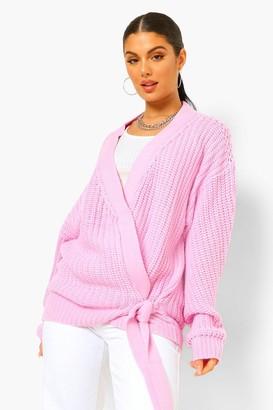 boohoo Chunky Knit Wrap Cardigan