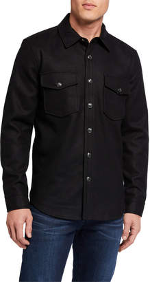 7 For All Mankind Men's Melton Wool Shirt Jacket