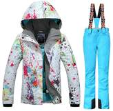 GSOU SNOW New Women Winter Warm Windproof Waterproof Breathable Ski Suit Jacket(colorful cloths with )