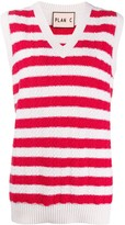 Plan C striped cable-knit sweater vest
