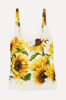 Dolce & Gabbana Lace-trimmed Floral-print Silk-blend Camisole - Yellow