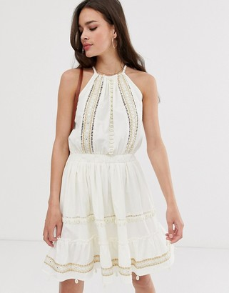 ASOS DESIGN shell and mirror embroidered cami mini sundress