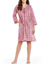 Miss Elaine Tasseled Medallion-Print Satin & Fleece Tasseled Zip Robe