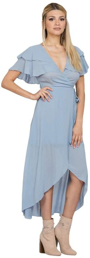 Ark & Co Women's Flutter Sleeve Wrap Maxi Dress