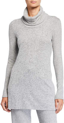 Natori Ulla Speckled Long-Sleeve Cowl-Neck Tunic