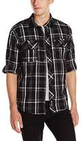 Southpole Men's Long Woven with Medium Plaid Patterns and Roll up Sleeves