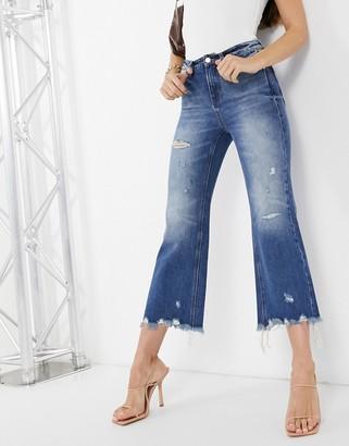Miss Sixty eileen distressed wide leg jeans in blue denim