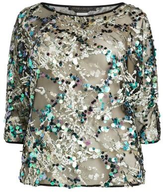 Marina Rinaldi Sequin-Embellished Mesh Top