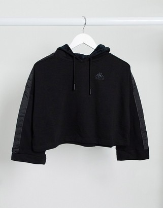 Kappa cropped hoodie with wide sleeves in black