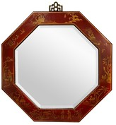 Oriental Furniture Red Lacquer Octagonal Mirror - Red