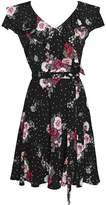 Wallis Petite Black Printed Fit and Flare Dress