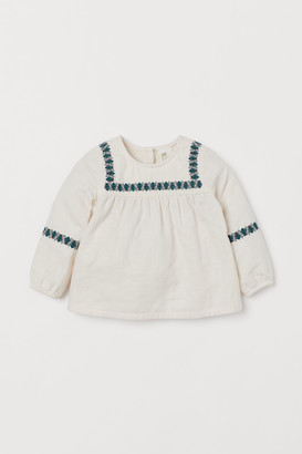 H&M Embroidered Cotton Blouse