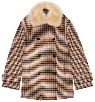 Theory Faux Shearling-Collar Plaid Peacoat