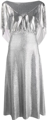 Paco Rabanne Mesh Panel Midi Dress