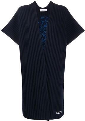 Valentino Floral-Embroidery Midi Cardi-Coat