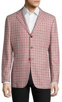 Kiton Check-Print Cashmere, Linen & Silk Blazer
