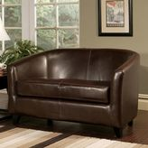 Abbyson Living Montecito Leather Loveseat in Brown