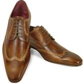 Fratelli Borgioli Handmade Light Brown Italian Leather Wingtip Dress Shoes