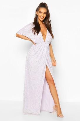 boohoo Boutique Sequin Plunge Maxi Dress