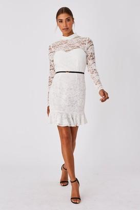 Paper Dolls Carman White Lace Belted Peplum Mini Dress