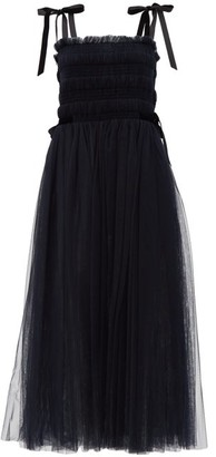 Molly Goddard Marta Velvet-ties Hand-smocked Tulle Dress - Navy