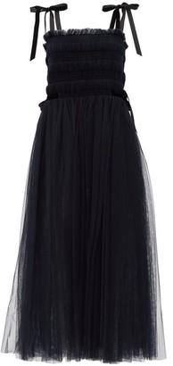 Molly Goddard Marta Velvet-ties Smocked Tulle Dress - Navy