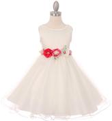 Ivory Floral Sash Fit & Flare Dress - Toddler & Girls