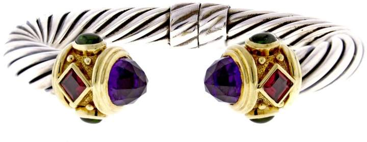 David Yurman Sterling Silver and 14K Yellow Gold Amethyst and Tourmaline Renaissance Bracelet 6""