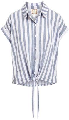Tru Self Women's Blouses NAVY/WHITE - Navy & White Stripe Tie-Accent Button-Front Top - Women