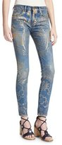 Roberto Cavalli Foiled-Paisley Skinny Jeans