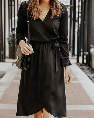 The Drop Women's Black Stretch-Satin Faux-Wrap Midi Dress by @somewherelately XS