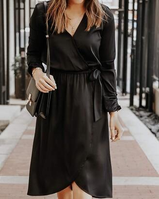 The Drop Women's Black Stretch-Satin Faux-Wrap Midi Dress by @somewherelately XXS