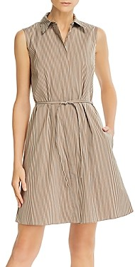 Theory Pinstripe Poplin Belted Shirtdress